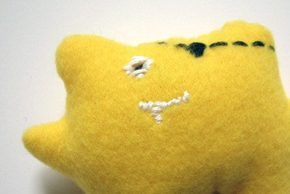 Wee Tiny Not So Scary Monster Pirate Plush in Bright Yellow Fleece