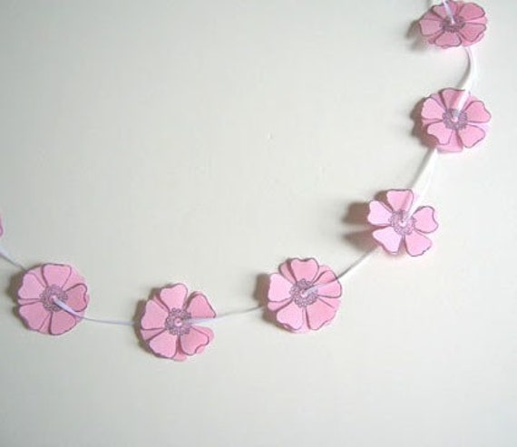 Pink Paper Flower Garland-Lovely Wedding Decor