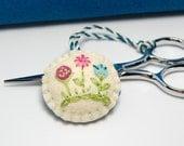 Scissor Fob - Embroidered Flowers on Wool Felt