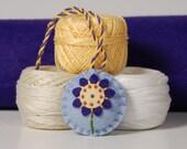 Scissor Fob - Purple Flower Hand Embroidered on Light Blue Wool Felt
