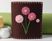Wool Felt Needle Book / Needle Case - Pink Daisy Flowers Hand Embroidered on Brown