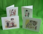 Plus Size Ladies on Funny Whimsical Cards - Great Girl Friends' Gift -  Set of 4 Cards: Meet Catherine, Sophia, Fionna, Alexandra.