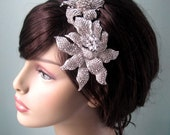 Liliana-deco glamour crystal encrusted floral headpiece-made to order