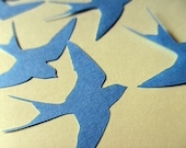 Swallow toppers, Die cut paper swallow blue embellishments, card making supplies