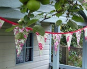 Bunting teapot roses, red bias binding, banner, garland for house, garden, party and festivities, washable