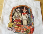 Tote Bag Mexican Day of the Dead light unbleached cotton Tote Bag Sugar Skull applique