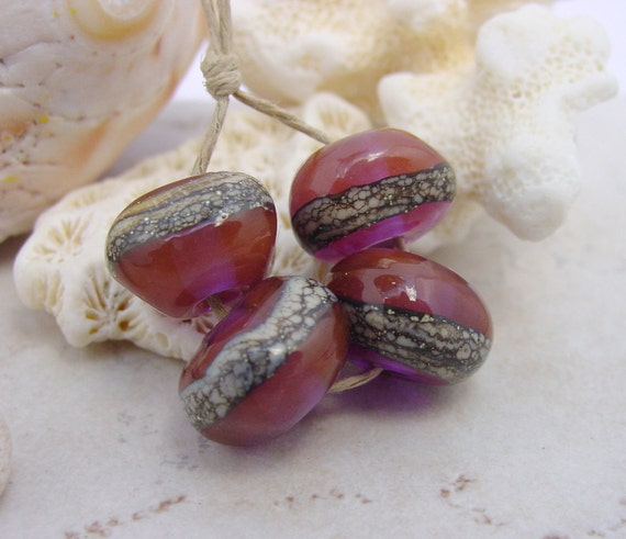 Lampwork Beads - Handmade Glass Beads - Pink Purple Nuggets