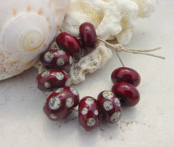 Lampwork Beads - Handmade Glass Beads - Red Dotted