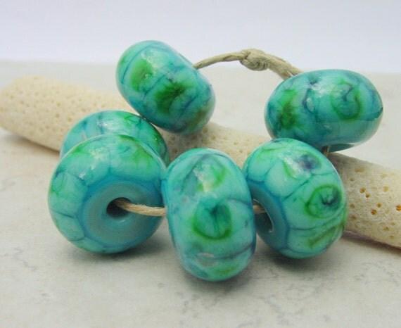 Lampwork Beads - Handmade Glass Beads -  Turquoise - Green