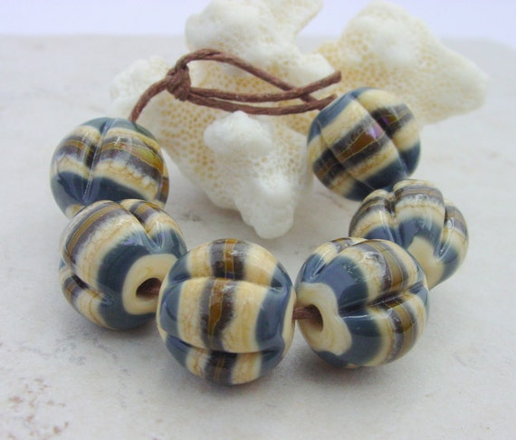 Lampwork Beads - HandmadeGlass Beads - Ivory, Brown & Blue