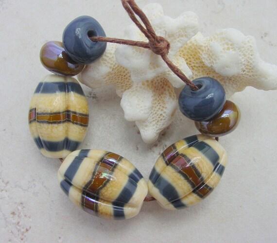Lampwork Beads - HandmadeGlass Beads - Chunky Ivory, Brown & Blue