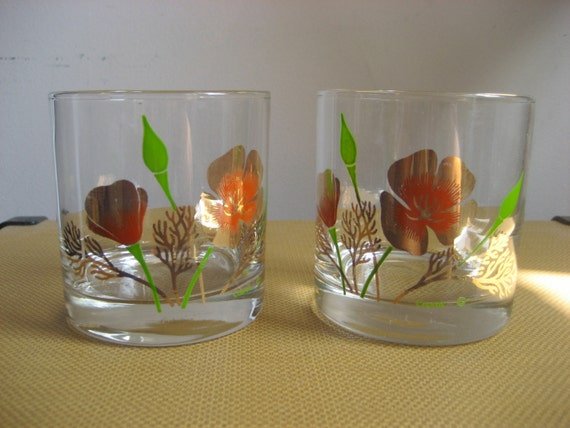 Vintage Pair Couroc Lowball Glass