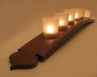 The Pagoda, Finest Oak Wine Barrel Stave Candle Holder 5 or 7 candles, elegantly recycled wood, choose your color