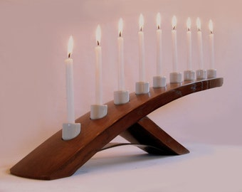 Green Ludwig, Eco friendly Menorah, recycled oak wine barrel stave candleholder, Nine white porcelain holders
