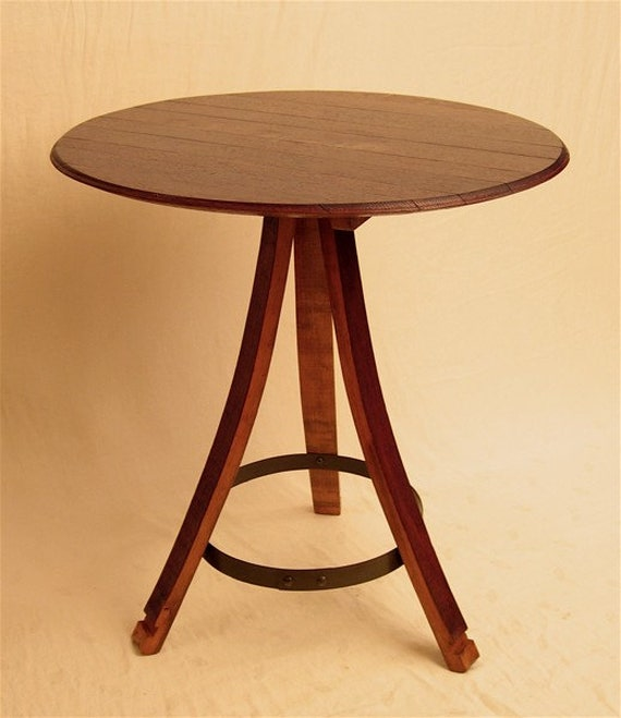 the bistro round table recycled oak wine barrel staves and. Black Bedroom Furniture Sets. Home Design Ideas