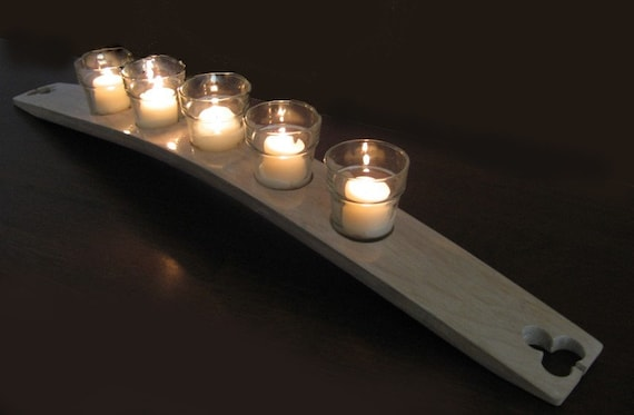 The Clover, Finest Oak Wine Barrel Stave Candle Holder 5 or 7 candles, elegantly recycled wood, choose your color.