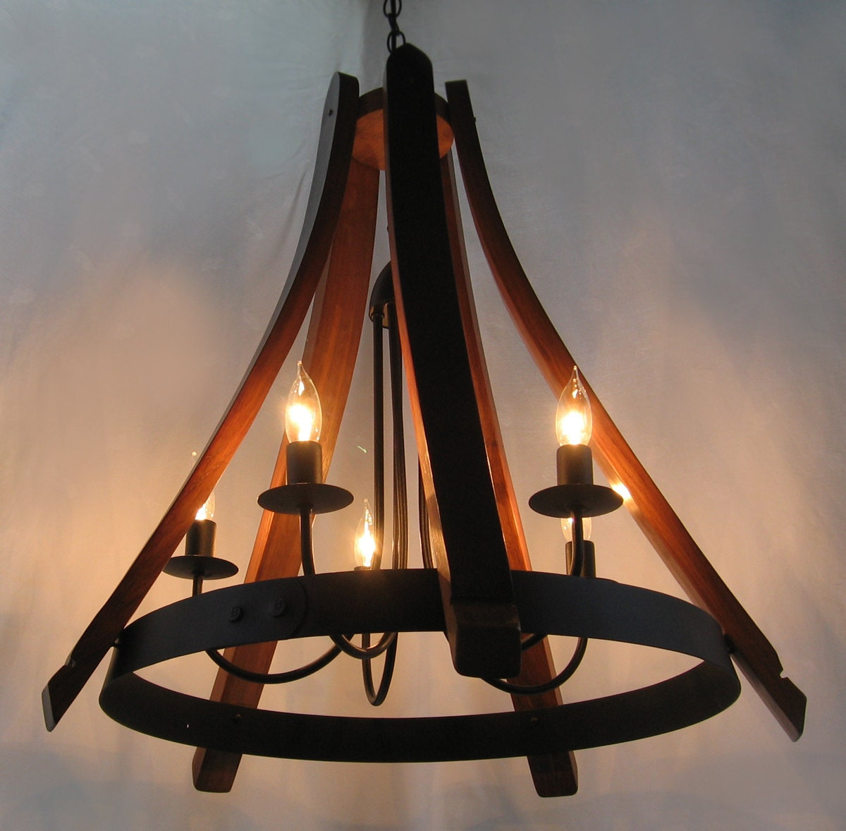 Cervantes wine barrel chandelier recycled oak staves and hoop - Can light chandelier ...