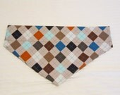 Custom Argyle Dog Collar Bandana Sizes XS to XL