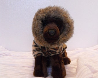 Fleece Dog Coat Hoodie in Leopard with Fur Trimmed Hood in XS Ready to Ship