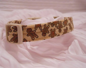 Christmas Custom Dog Collar with Gingerbread Men Sizes XS to XL