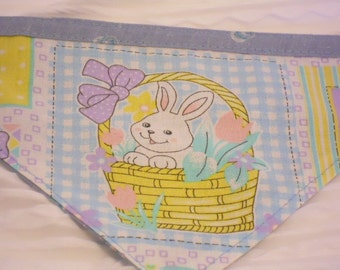 SALE Easter Dog Bandana with Bunny in Basket SMALL Tie Style Ready to Ship