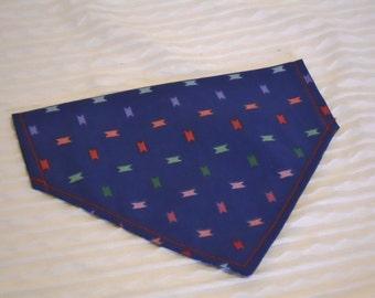 SALE Dog Bandana in Modern Blue Design in MEDIUM Dog Collar Style Ready to SHIP