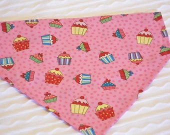 Dog Collar Bandana with Cupcakes Sizes XS and SMALL