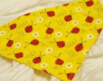 Dog Collar Bandana with Red Ladybugs on Bright Yellow Sizes XS to XL