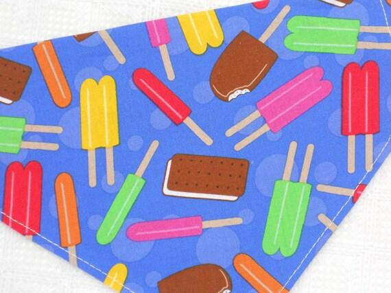 Summer Dog Collar Bandana in Ice Cream Novelty Print in LARGE