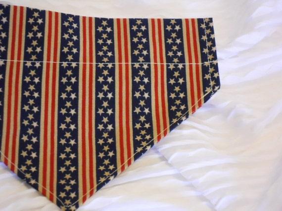 Patriotic Dog Bandana with Stars & Stripes in MEDIUM Dog Collar Bandana
