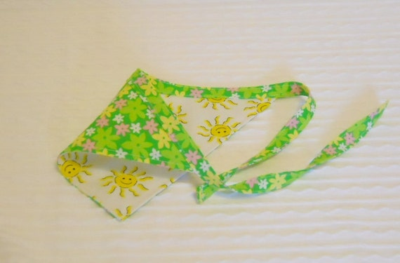 Dog Bandana with Neon Flowers & Smiling Suns Sizes XS to L in TIE Style Dog Bandana