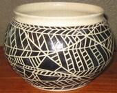 Black and Tan Handmade Thinking Pottery Bowl