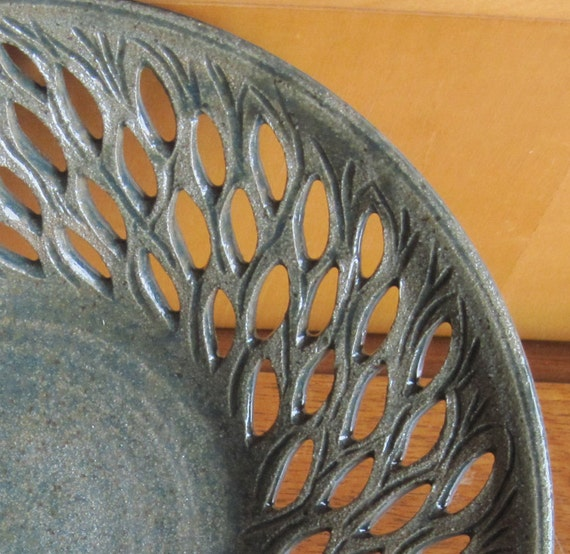 Pottery Bowl with Carved Green Leaves - Centerpiece - Visit shop for more Handmade Pottery