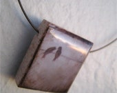 Birds on a Wire Pendant - Altered Reproduction PRINT on Scrabble tile
