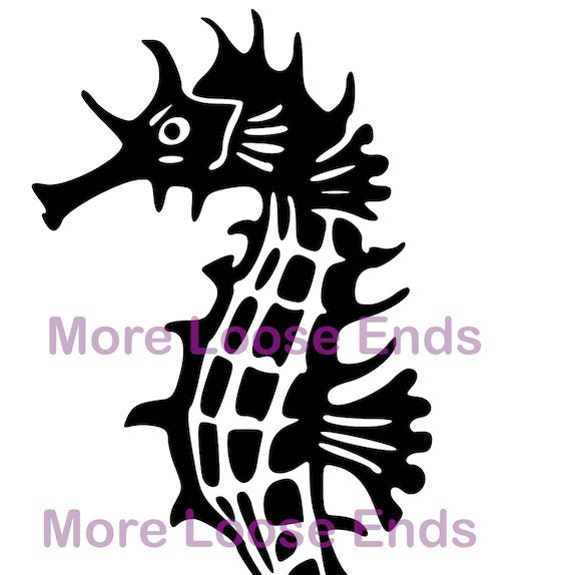 Modern Seahorse Graphic Digital Image File DIY instant download