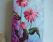 BONITA - Pink Zinnias - 10 x 20 Original Acrylic on Canvas - Pink Floral Painting