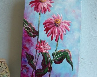 BONITA - Pink Zinnias - 10 x 20 Original Acrylic on Canvas - Pink Floral Painting