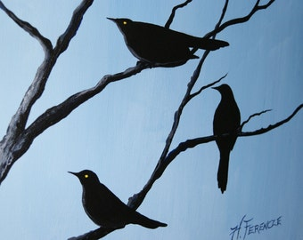 Blackbird Painting - Raven Migration - The Journey Awaits - 16 x 20 Original Acrylic on Canvas