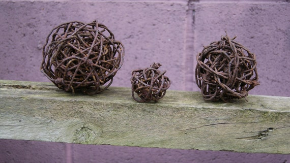 Barbed Wire Spheres Rusty Vintage Industrial Decor