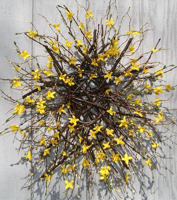 Spring Wreath Forsythia Wreath Mothers Day Twig Wreath