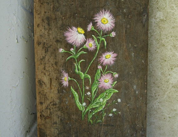 Primitive Pink Flower Painting - Vintage Wood - Original Acrylic on Antique 1800s Fireplace Door - Mothers Day
