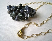 First Light Cluster Necklace - sapphire necklace, navy blue sapphire necklace, statement necklace, september birthstone, handmade jewelry