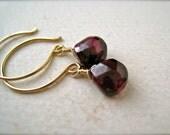 Cranberry Earrings - garnet earrings, crimson garnet earrings, january birthstone, simple dark red drop earrings, handmade jewelry, DE01