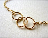 Trio Necklace - gold three circles necklace, simple classy everyday necklace, mother circles necklace, bridesmaid gift jewelry, N06/N07/N22