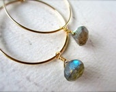 One Last Kiss Earrings - labradorite hoop earrings, gold hoops, silver hoops, gemstone hoops, simple hoop earrings, E02 cyber monday sale