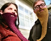 peanut butter and jelly twin beard - face neck warmer, costume, disguise, gemini, pbj, couple beard, his and hers