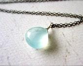 Sayuri Petite Necklace - aqua chalcedony necklace, oxidized sterling silver chalcedony necklace, aqua blue gem, bridesmaid jewelry, OS08
