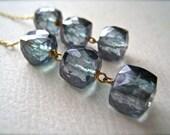 Rain Drops Earrings - blue quartz gemstone dangle earrings, blue and gold blue mystic quartz earrings, geometric cube handmade jewelry