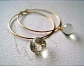 One Last Kiss Earrings - gemstone hoop earrings, silver hoops, gold hoops, green amethyst, prasiolite hoop earrings, gemstone hoops, E02-P