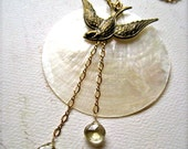 La Bella Luna Necklace - bird and moon necklace, capiz shell necklace, lemon quartz, bohemian necklace, handmade shell necklace